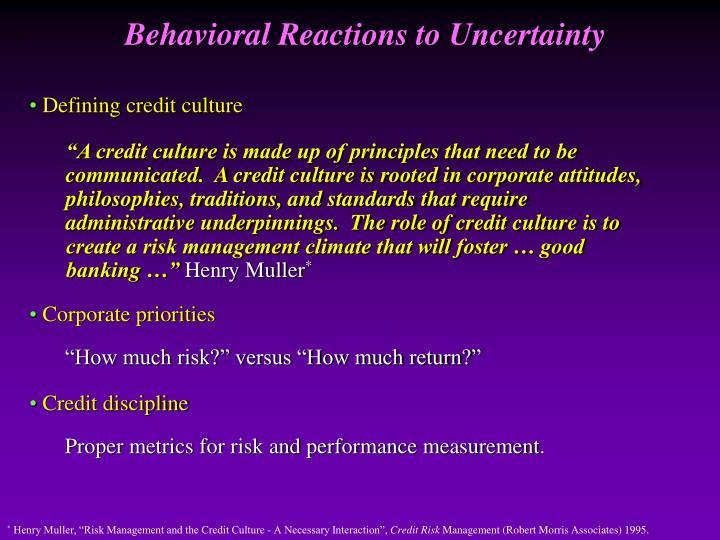 Defining credit culture