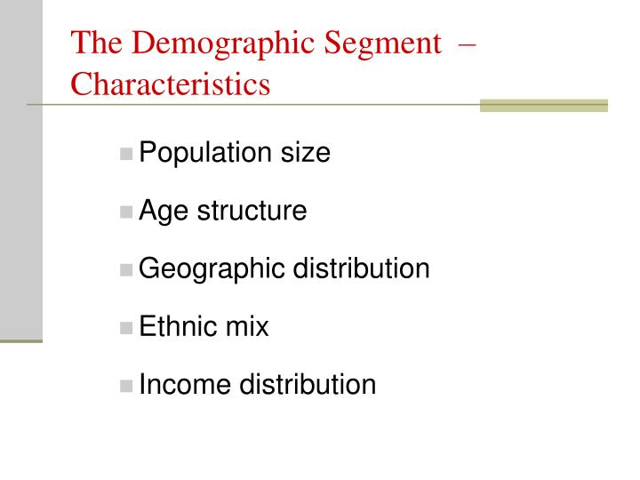 The Demographic Segment  –