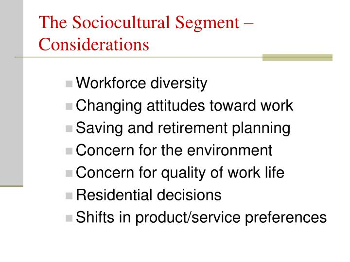 The Sociocultural Segment –