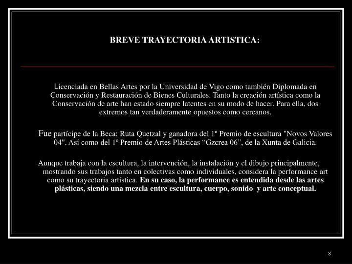 BREVE TRAYECTORIA ARTISTICA: