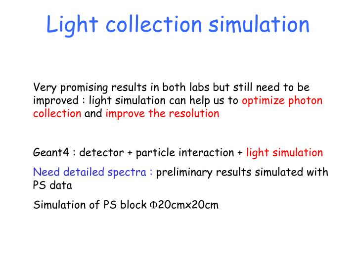 Light collection simulation