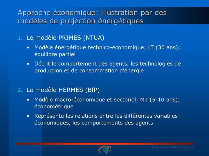 Approche économique: illustration par des modèles de projection énergétiques