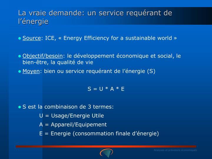 La vraie demande: un service requérant de l'énergie