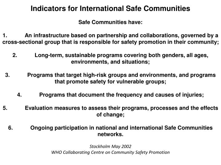 Indicators for International Safe Communities
