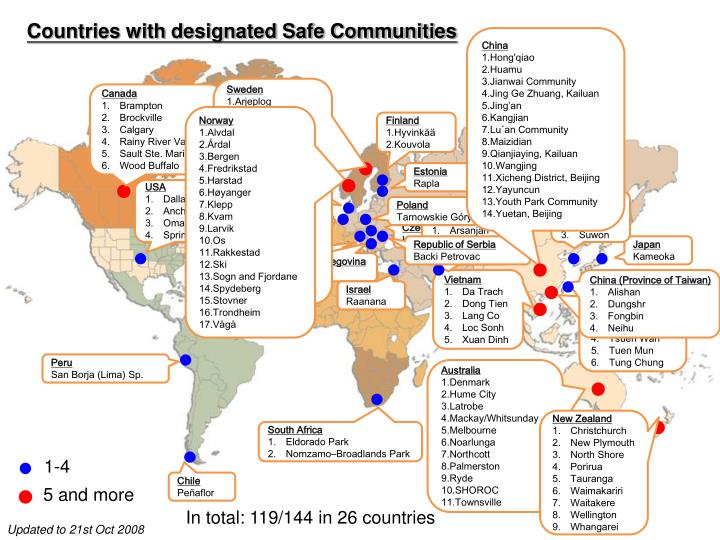 Countries with designated Safe Communities