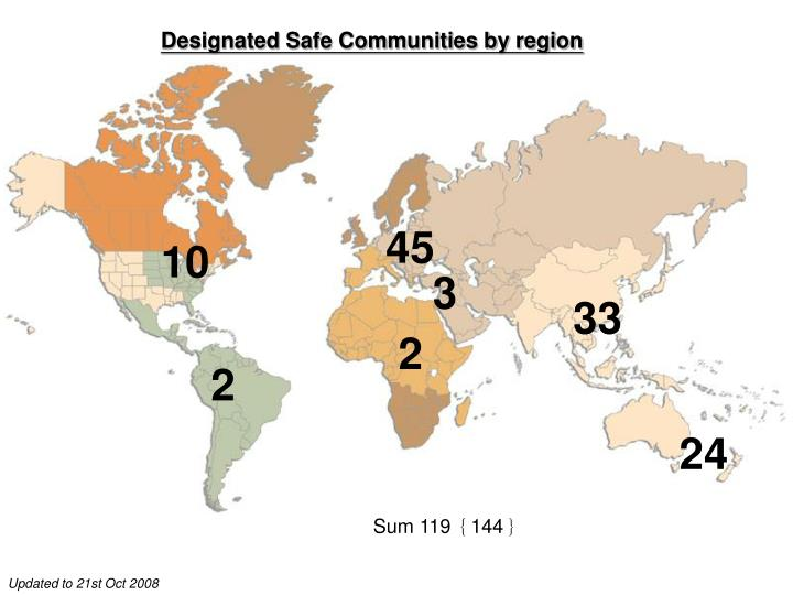 Designated Safe Communities by region