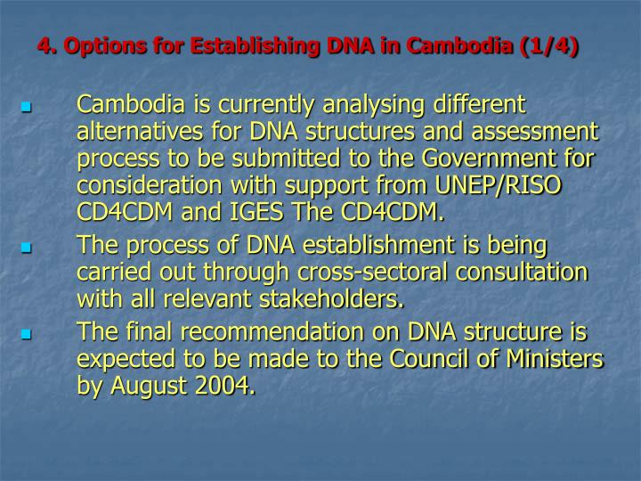 4. Options for Establishing DNA in Cambodia (1/4)