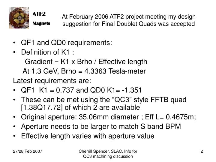 At February 2006 ATF2 project meeting my design suggestion for Final Doublet Quads was accepted