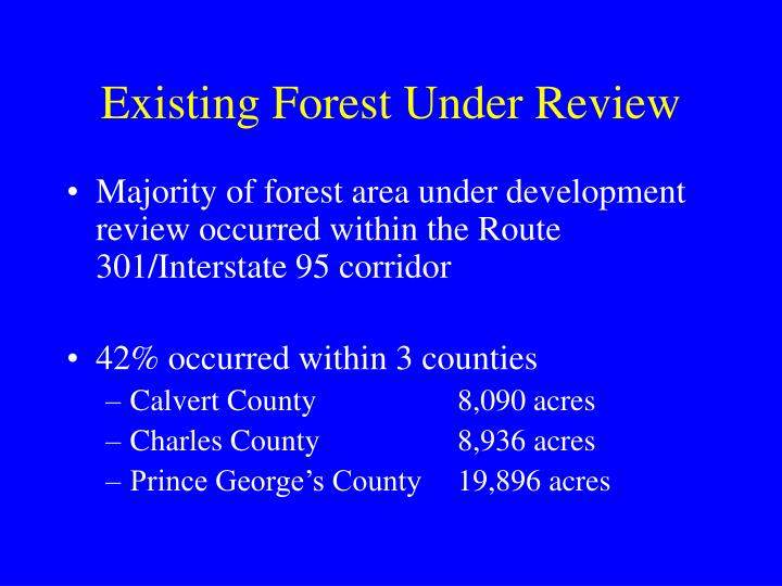 Existing Forest Under Review