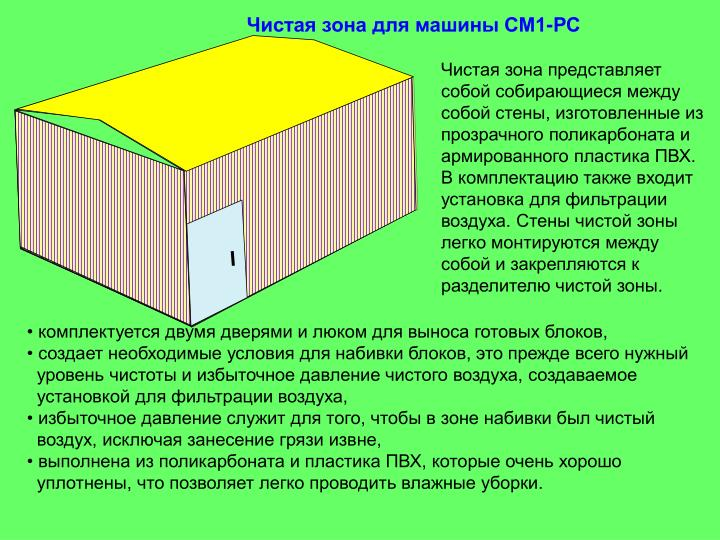 Чистая зона для машины СМ1-РС