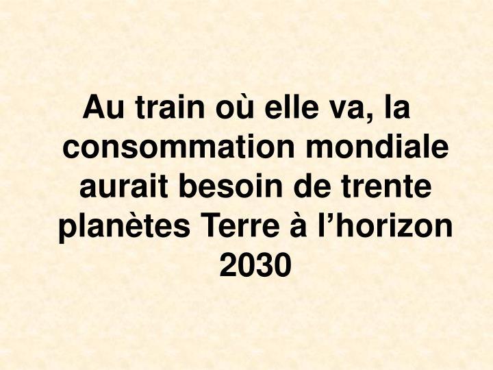 Au train o elle va, la consommation mondiale aurait besoin de trente plantes Terre  lhorizon 2030