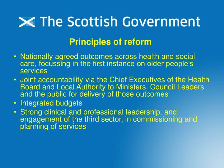 Principles of reform