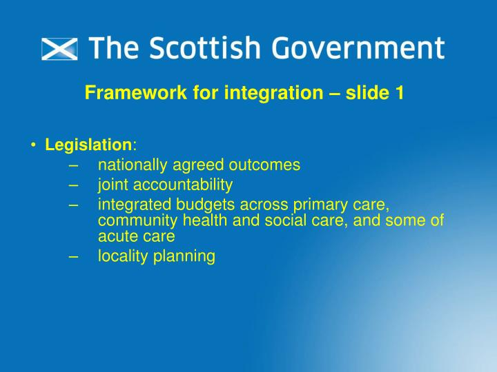 Framework for integration – slide 1