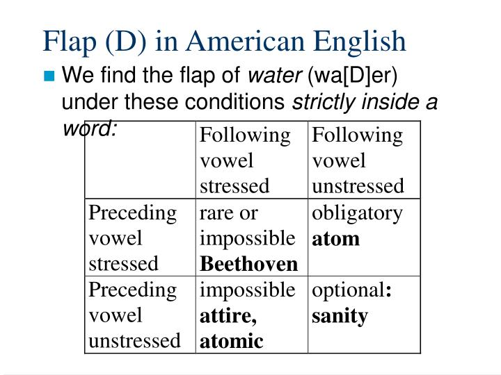 Flap (D) in American English