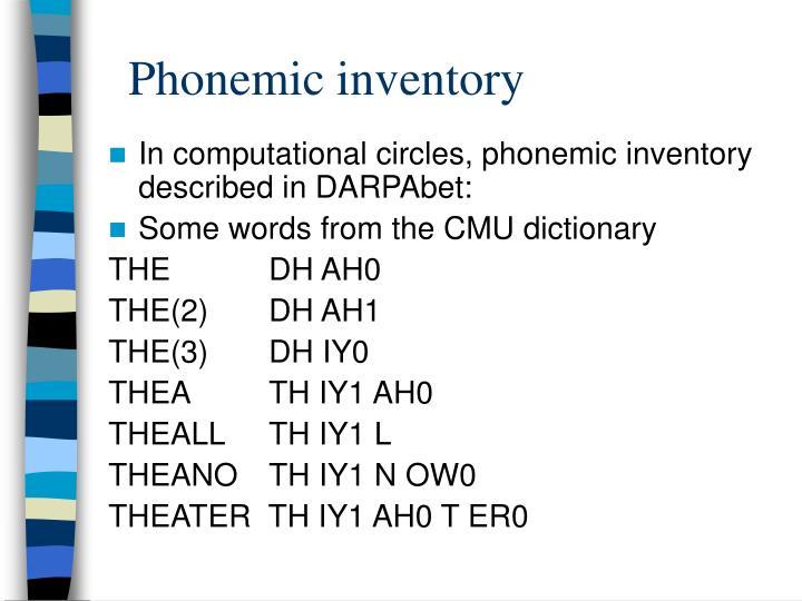 Phonemic inventory