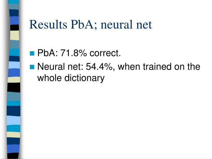 Results PbA; neural net
