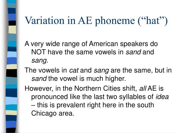 """Variation in AE phoneme (""""hat"""")"""