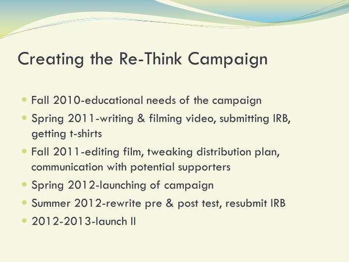 Creating the Re-Think Campaign