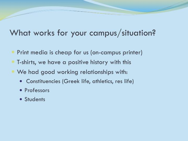 What works for your campus/situation?
