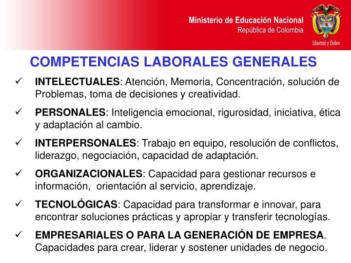 COMPETENCIAS LABORALES GENERALES