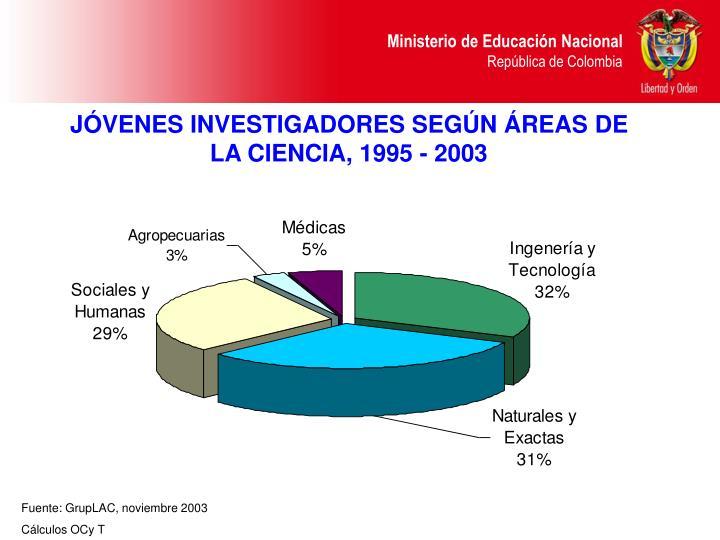 JÓVENES INVESTIGADORES SEGÚN ÁREAS DE LA CIENCIA, 1995 - 2003