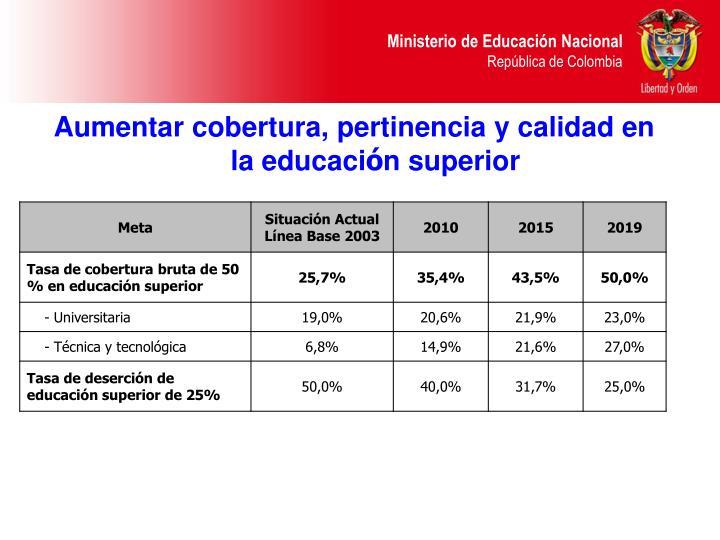 Aumentar cobertura, pertinencia y calidad en la educaci
