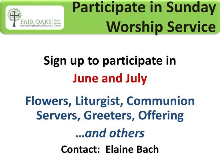 Participate in Sunday