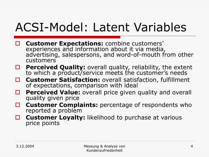 ACSI-Model: Latent Variables