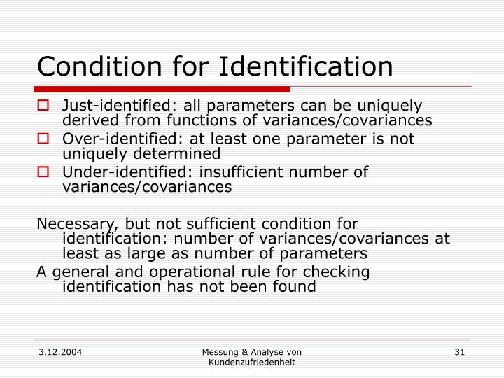 Condition for Identification