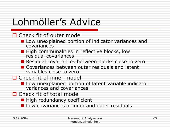 Lohmöller's Advice