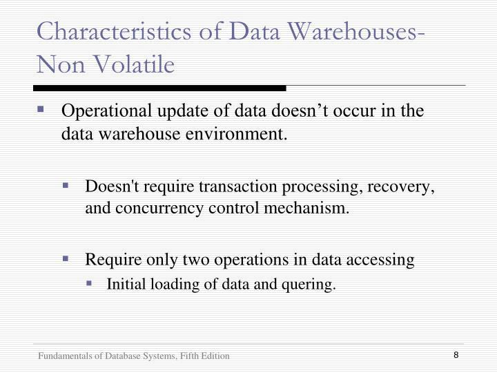 Characteristics of Data Warehouses- Non Volatile