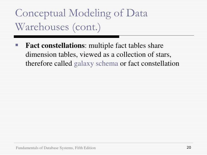 Conceptual Modeling of Data Warehouses (cont.)