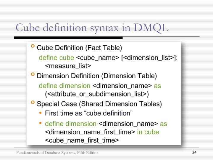 Cube definition syntax in DMQL