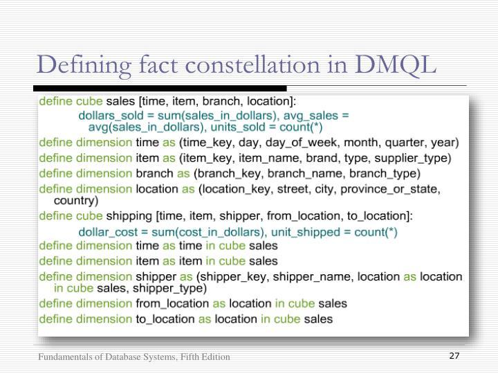 Defining fact constellation in DMQL