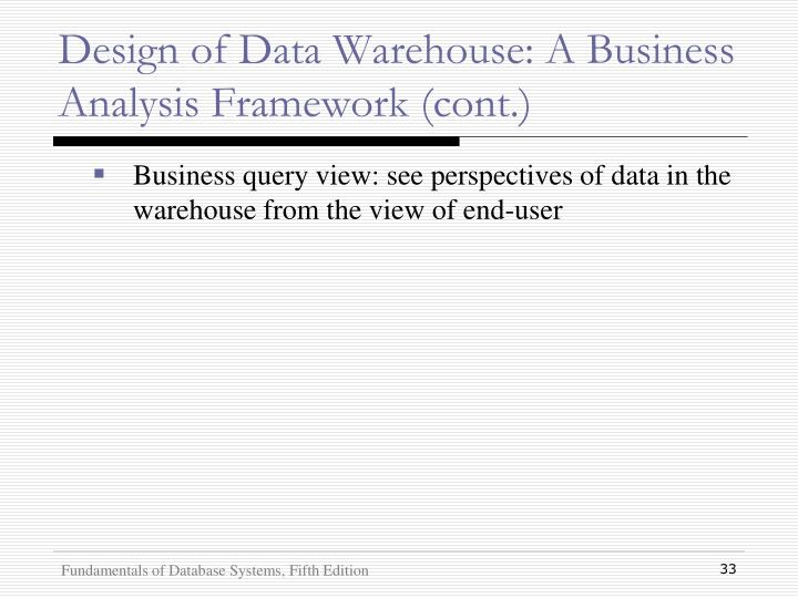 Design of Data Warehouse: A Business Analysis Framework (cont.)