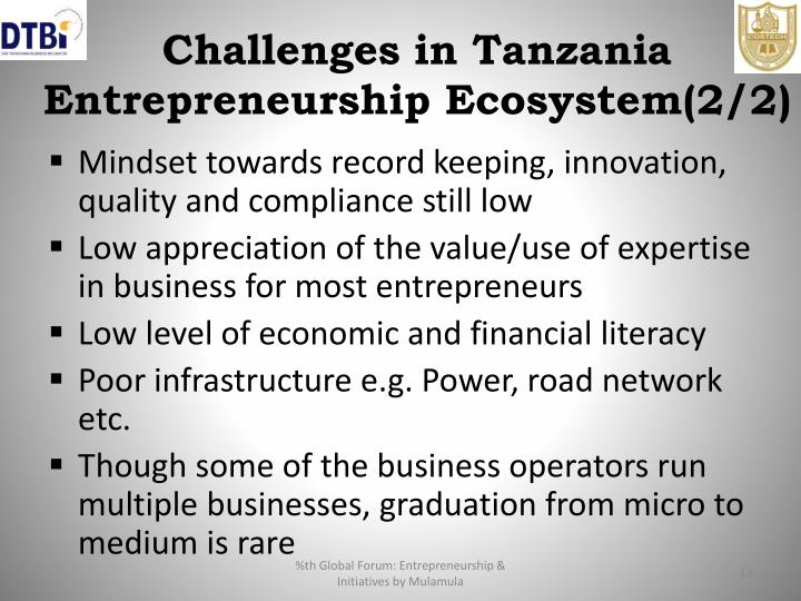 Challenges in Tanzania Entrepreneurship Ecosystem(2/2)