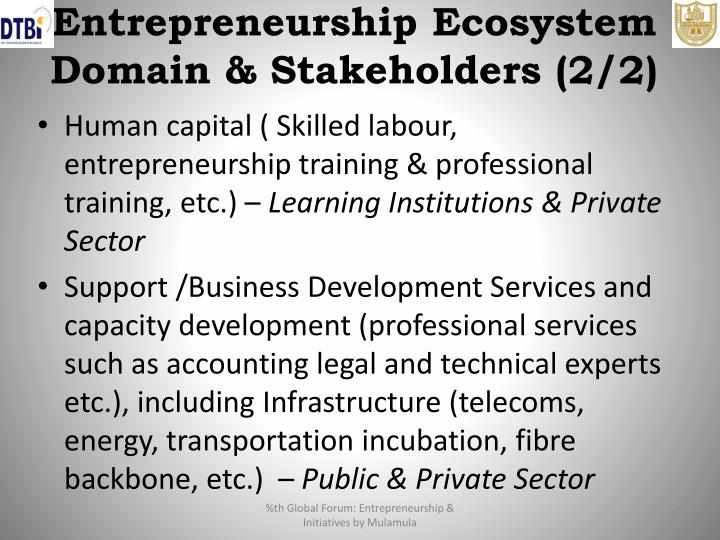 Entrepreneurship Ecosystem Domain & Stakeholders (2/2)