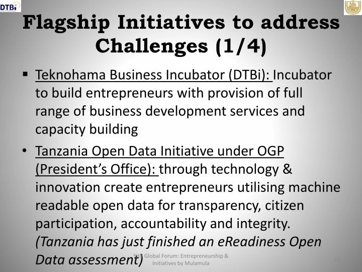 Flagship Initiatives to address Challenges (1/4)