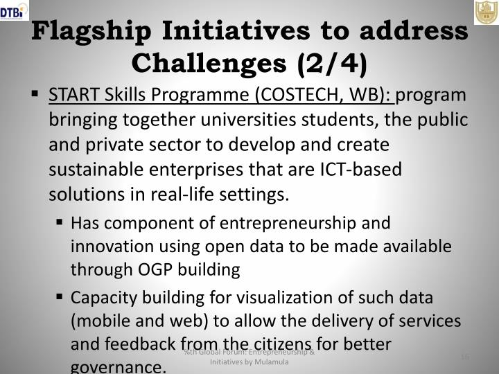 Flagship Initiatives to address Challenges (2/4)