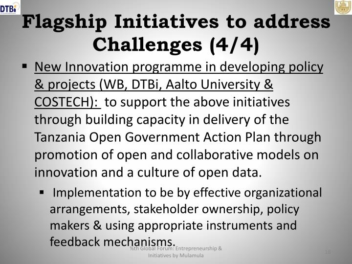 Flagship Initiatives to address Challenges (4/4)