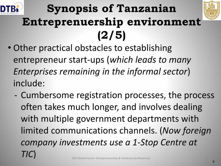Synopsis of Tanzanian Entreprenuership environment (2/5)