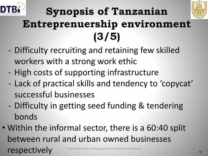 Synopsis of Tanzanian Entreprenuership environment (3/5)