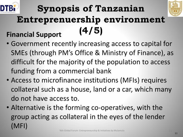 Synopsis of Tanzanian Entreprenuership environment (4/5)