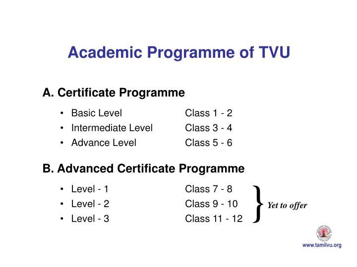 Academic Programme of TVU