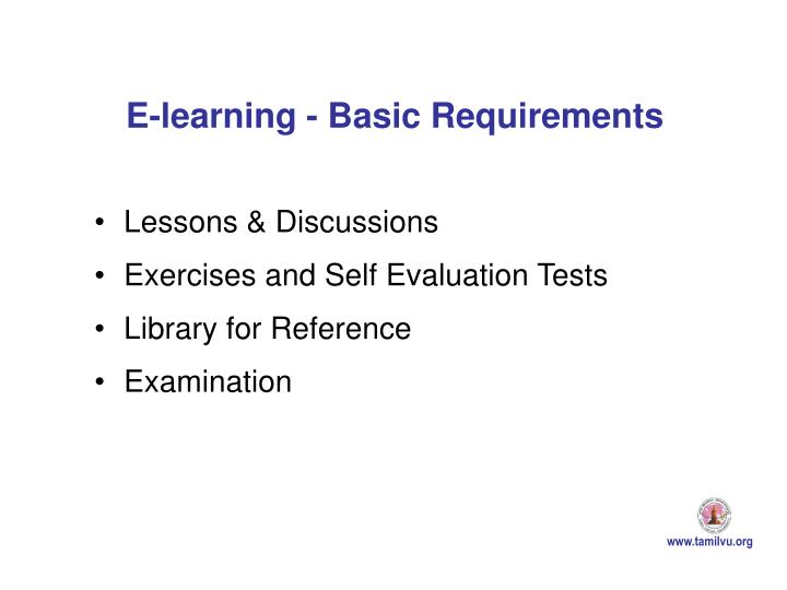 E-learning - Basic Requirements