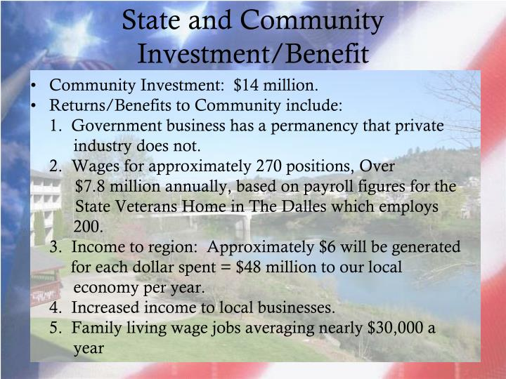 State and Community Investment/Benefit