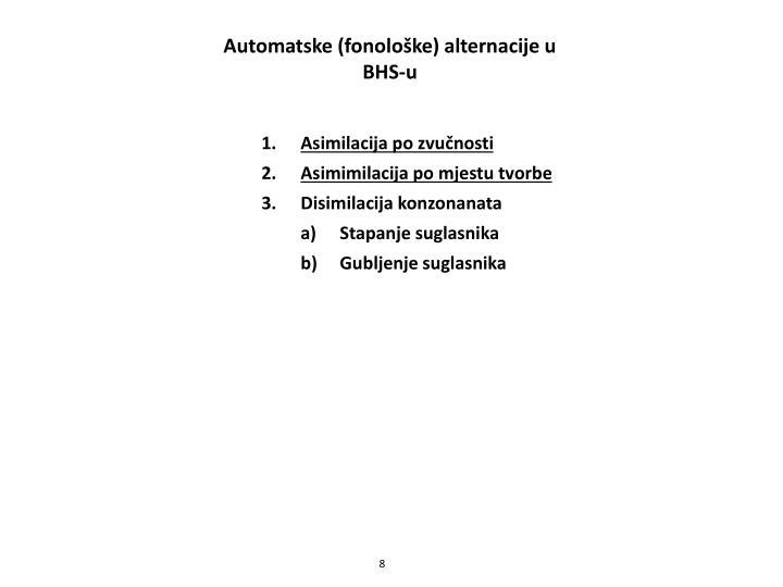 Automatske (fonološke) alternacije u BHS-u