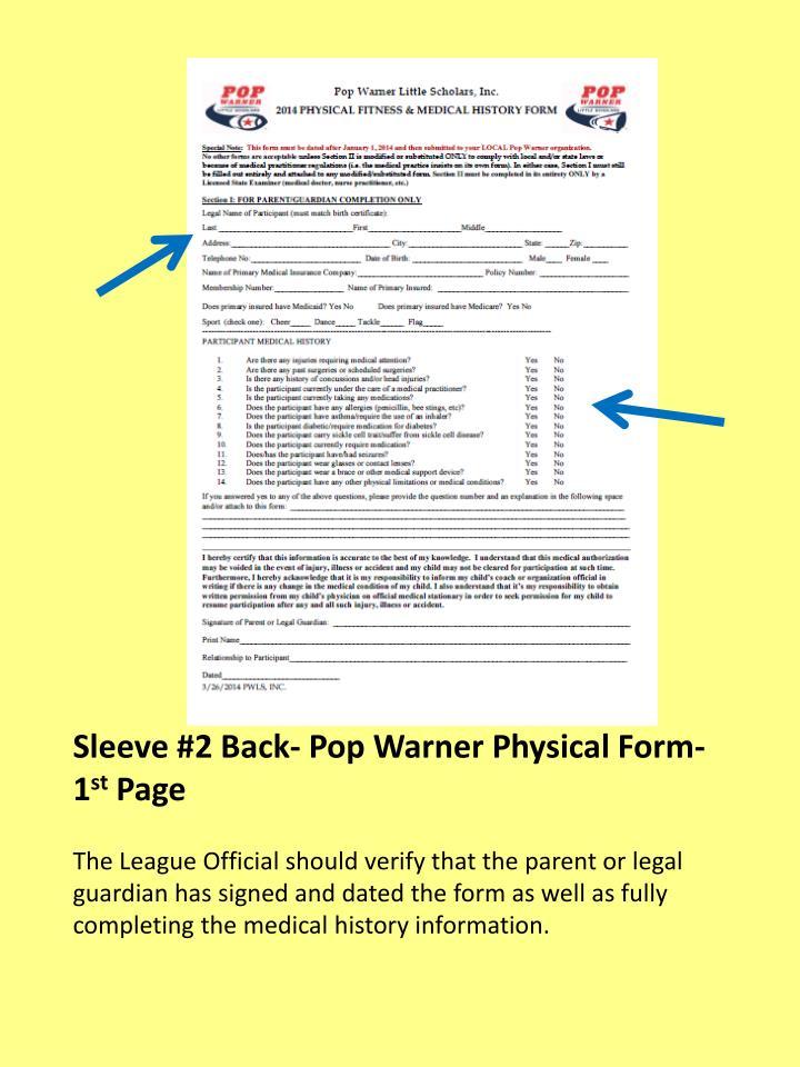 Sleeve #2 Back- Pop Warner Physical Form- 1