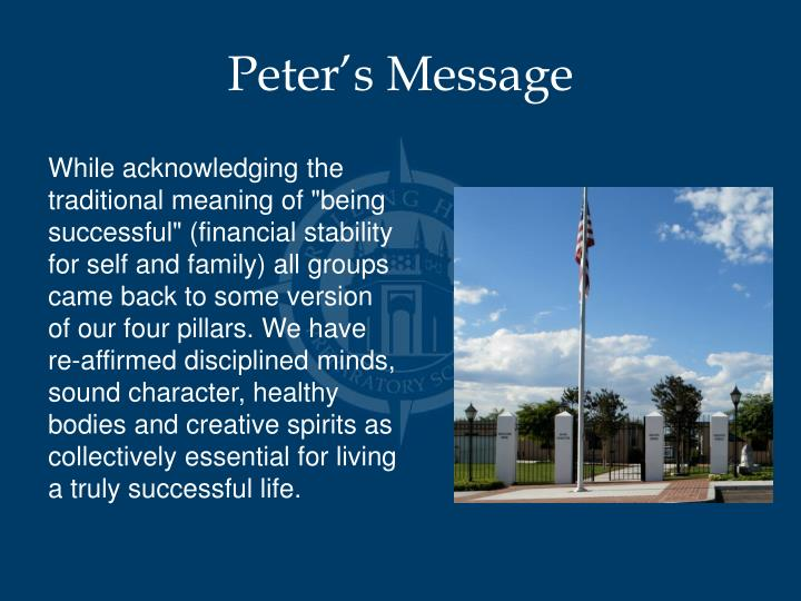 Peter's Message