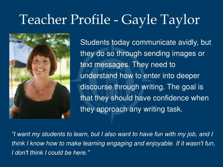 Teacher Profile - Gayle Taylor